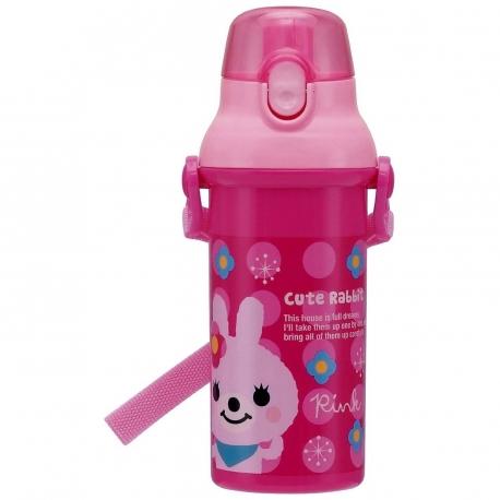 Cute Pink Panda Water Bottle 480ml Lock Top