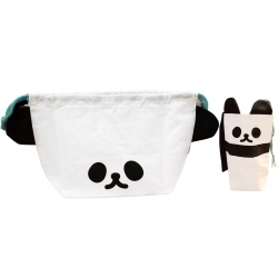 Japanese Bento Lunch Drawstring Bag with Ears and Bottle Cover Panda