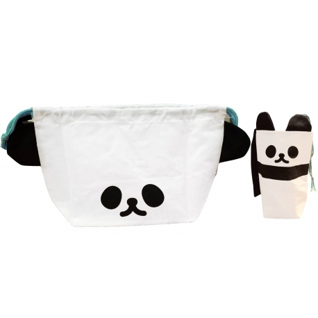 Japanese Bento Lunch Drawstring Bag with Ears - Panda