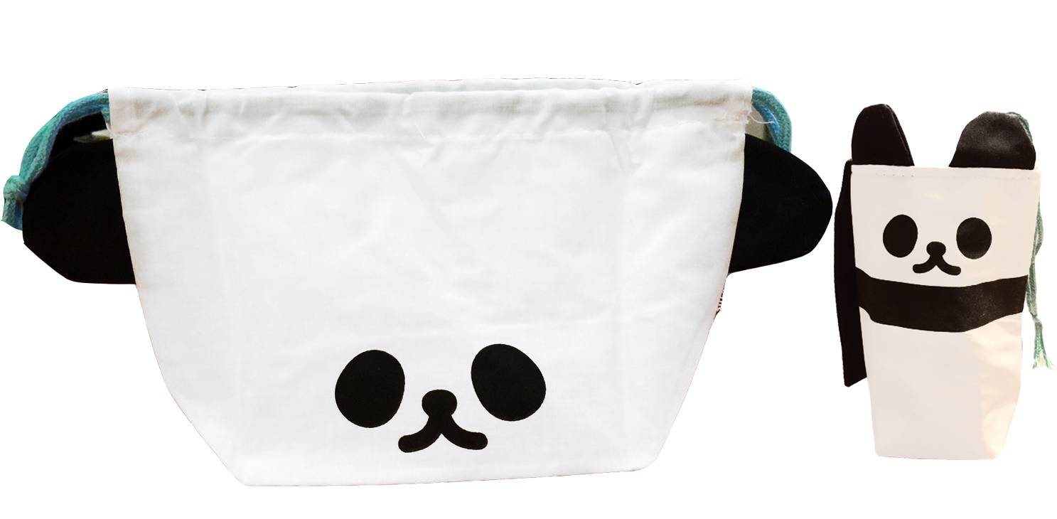 japanese bento lunch drawstring bag with ears and bottle cover pand. Black Bedroom Furniture Sets. Home Design Ideas