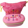 Japanese 2-Tier Bento Lunch Box Pink Flower Set