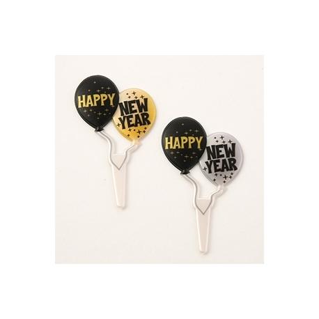 Food Decorating Pick Happy New Year Balloon Pick