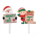Food Decorating Pick Merry Christmas Naughty or Nice Santa Elf