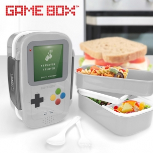 GameBox 2-Tier Bento Lunch Box with Removable Divider, Spoon, Fork 1410ml