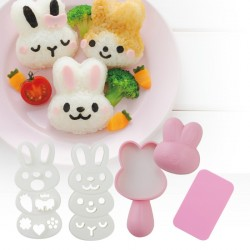 Japanese Bento Rice Mold and Seaweed Nori Cutter Set Bear Frog Pig Tiger