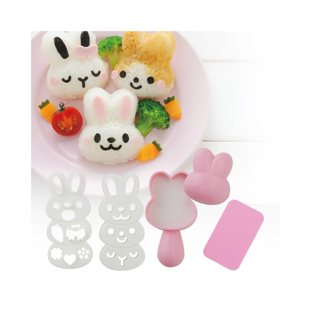 Japanese Bento Rice Mold and Seaweed Nori Cutter Set Mimy Rabbit f...