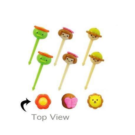 Japanese Bento Cute Face 3D Face Food Pick 6 pcs