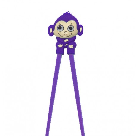 Japanese Assisted Training Chopsticks Silicone Monkey Purple