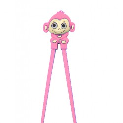 Japanese Assisted Training Chopsticks Silicone Monkey Pink