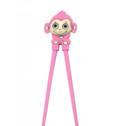 Japanese Assisted Training Chopsticks Silicone Monkey Pink