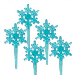Food Decorating Pick Snowflake Blue 8P