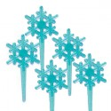 Food Decorating Pick Snowflake Blue 8P