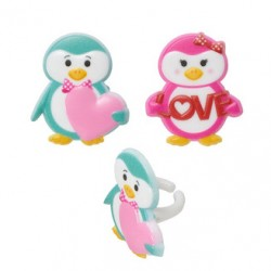 Food Decorating Ring Valentines Penguins in Love