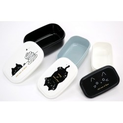 Microwavable 3 Nested Containers Bento Boxes Black Cat