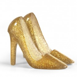 Mobile Cell Phone Stand Glittered Gold Pumped Up Heels