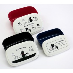 Microwavable 3 Nested Containers Bento Boxes Chat Noir et Blanc