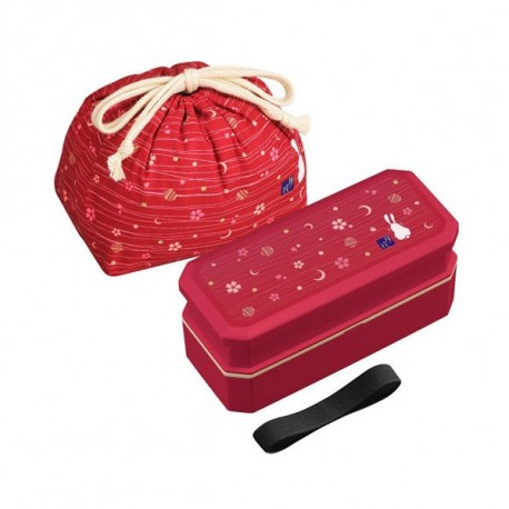 Bento Lunch Box Designer Set Red Rabbit Set Rectangle 700ml