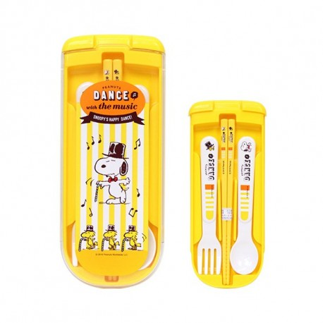 Japanese Bento Fork Spoon Chopsticks and Case 4 in 1 Snoopy