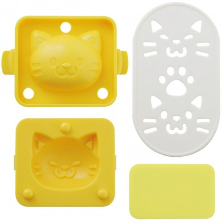 Egg Mold set with Seaweed Cutter Cat Shape