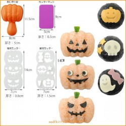 Bento Rice Mold and Seaweed Nori Cutter Set Halloween Pumpkin