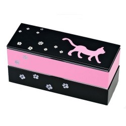 Microwavable Japanese 2 Tier Bento Lunch Box with Strap Pink Cat
