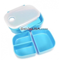 3 Sections Vacuum Bento Lunch Box 800ml Blue