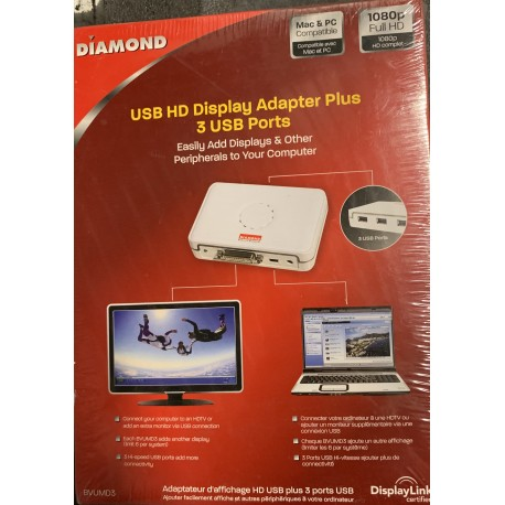 DIAMOND BVUMD3 HD USB Video Adapter Plus w/ 3 Port USB Hub