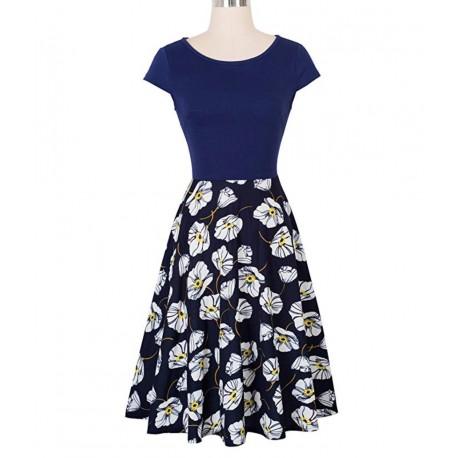 Women's 1950s Vintage style Elegant Cap Sleeve Swing Party Dress NEW