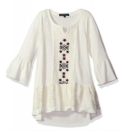 NEW Girls' Big High Low Long Top with Bell Sleeves, Embroidery, and Crochet Trim