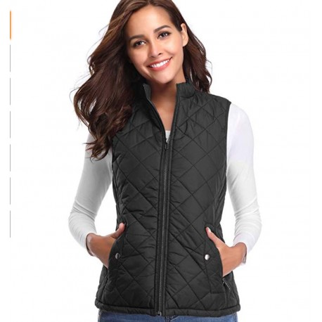 Women's Stand Collar Lightweight Padded Zip Vest Quilted Gilet Black Size L