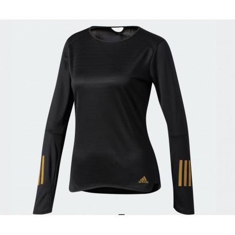 NEW adidas Women's Running Response Long Sleeve Black/Metallic Gold Size L