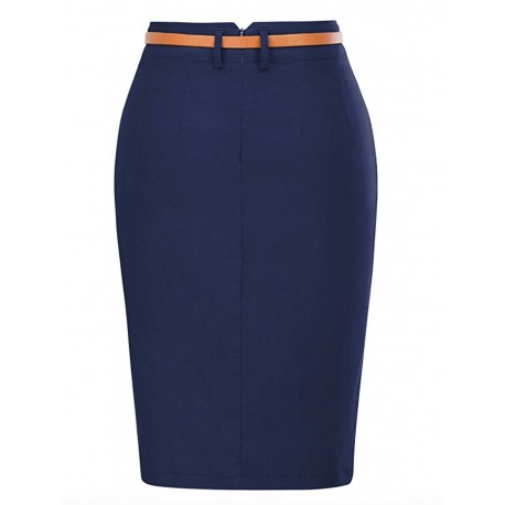 New Women's Bodycon Pencil Skirt with Belt Solid Color Blue Hip-Wrapped Size S