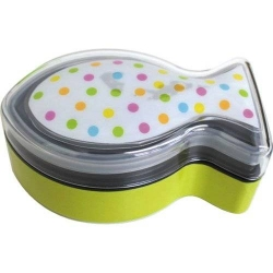 Bento Box 2 tier Lunch Box with Strap Fish Shape Cold Pack Polka Dots