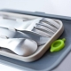 Stainless Steel Bento Fork knife Spoon and Case 4 in 1 set